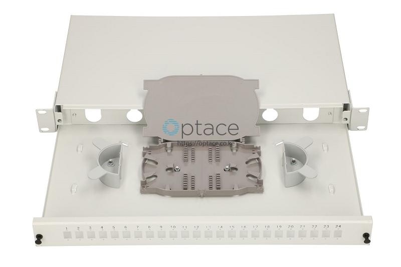 Extralink 24 Core Fiber Optic Patch Panel - White V2 inside