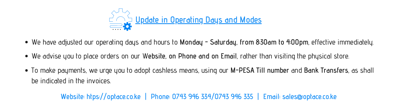 Update in Operating Days and Modes