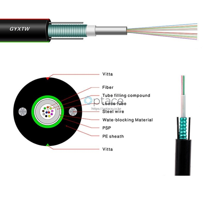 Optace Fiber Optic Cable 8-core, Singlemode, OS2, (GYXTW)